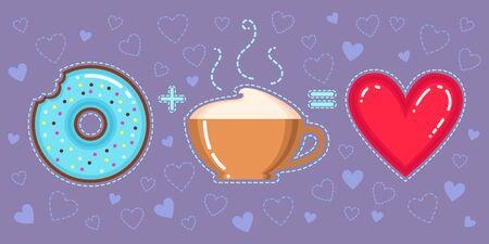 Flat design vector illustration of chocolate donut with blue glaze, cappuccino cup and red heart on violet background