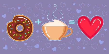 Flat design vector illustration of donut with chocolate glaze, cappuccino cup and red heart on violet background Çizim