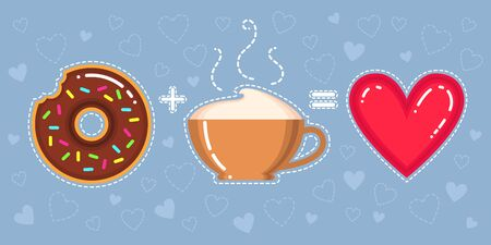 Flat design vector illustration of donut with chocolate glaze, cappuccino cup and heart on blue background Çizim