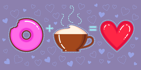 Flat design vector illustration of chocolate donut with pink glaze, cappuccino cup and red heart on violet background