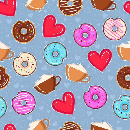 Flat design vector pattern of donuts, cappuccino cups and red hearts on blue background. Çizim