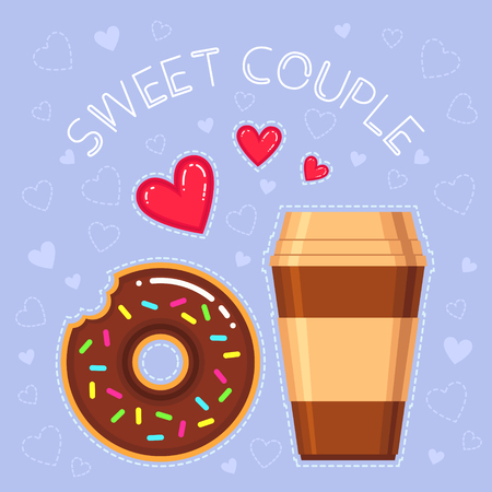Flat design vector illustration of donut with chocolate glaze, coffee cup, red hearts and text.