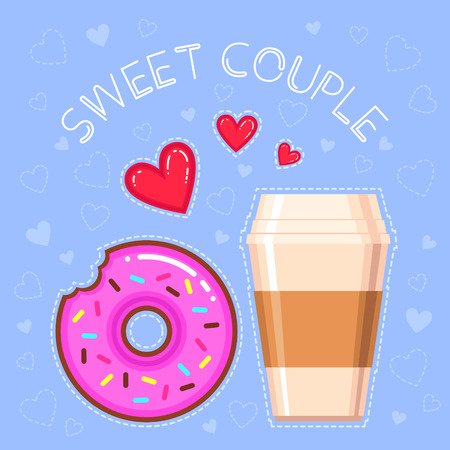 Flat design vector illustration of chocolate donut with pink glaze, coffee cup, red hearts and text.