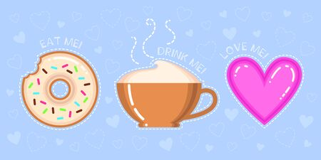 bracing: vector illustration of donut with glaze, cappuccino cup, pink heart and text eat drink love me on blue background Illustration
