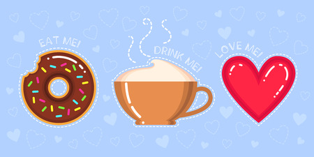 vector illustration of donut with chocolate glaze, cappuccino cup, red heart and text eat, drink, love me on blue background