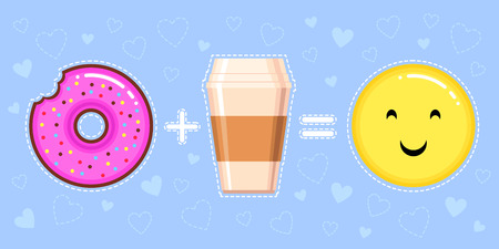 vector illustration of donut with pink glaze, coffee cup and smiling yellow face on blue background with hearts
