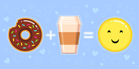 vector illustration of donut with chocolate glaze, coffee cup and smiling yellow face on blue background with hearts