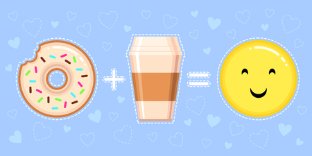 vector illustration of donut with glaze, coffee cup and smiling yellow face on blue background with hearts