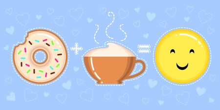 vector illustration of donut with glaze, cappuccino cup and smiling yellow face on blue  with hearts