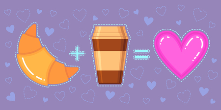 Funny vector illustration of croissant, coffee cup and pink heart on violet background Stok Fotoğraf - 72163532