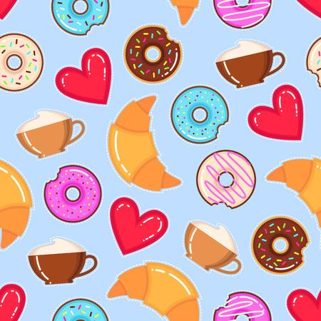 Patrón de vector divertido de donuts, tazas de capuchino, medialunas y corazones rojos sobre fondo azul