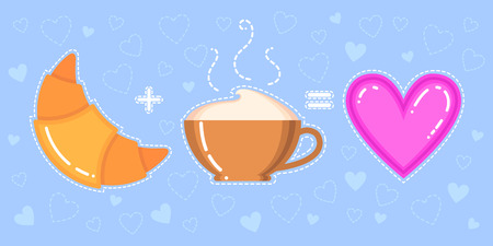 Funny vector illustration of croissant, cappuccino cup and pink heart on blue background