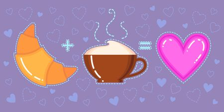 Funny vector illustration of croissant, coffee cup and pink heart on violet background