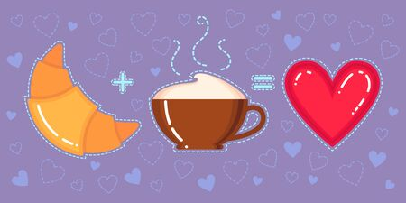 Funny vector illustration of croissant, coffee cup and red heart on violet background