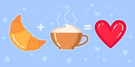 Funny vector illustration of croissant, cappuccino cup and red heart on blue background