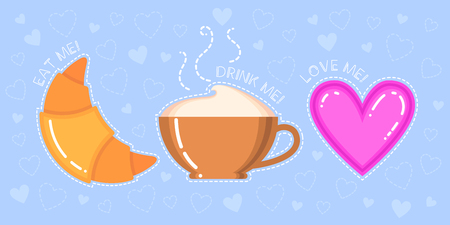 Funny vector illustration of croissant, cappuccino cup, pink heart and text eat drink love me on blue background Illustration