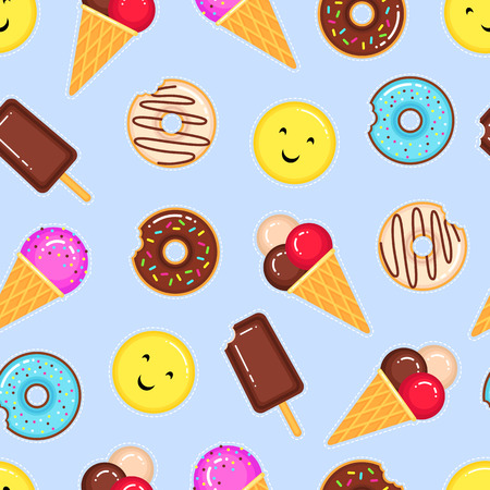 Funny vector pattern of donuts, ice creams and yellow smiling emoji on blue background
