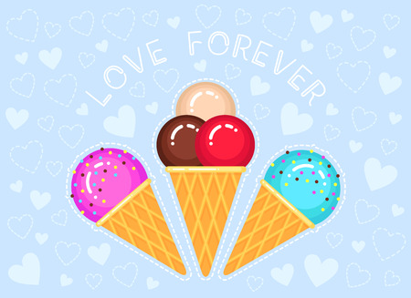 vector illustration of ice creams in cone waffle glass on blue background with hearts and text love forever