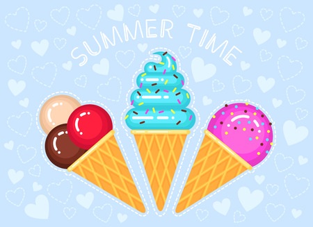 vector illustration of ice creams in cone waffle glass on blue background with hearts and text summer time