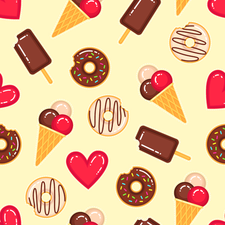 Funny vector pattern of donuts, ice creams and red hearts on yellow background