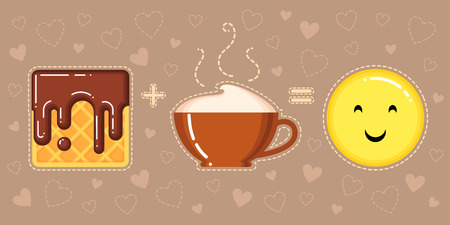 vector illustration of waffle with chocolate glaze, cappuccino cup and smiling yellow face on brown background with hearts Stok Fotoğraf - 73992829