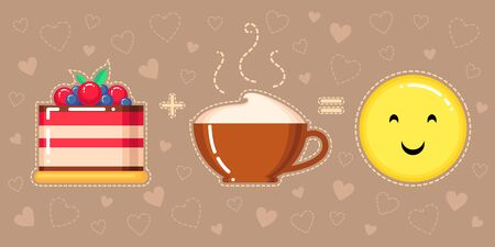 vector illustration of cake, cappuccino cup and smiling yellow face on brown background with hearts