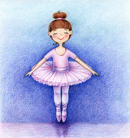 hands drawn picture of little ballet dancer on the stage by the color pencils Stock Photo