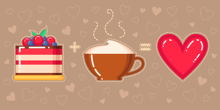 vector illustration of cake, cappuccino cup and red heart on brown background