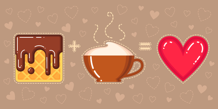 vector illustration of waffle with chocolate glaze, cappuccino cup and red heart on brown background
