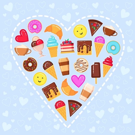 A Vector illustration of sweet heart with ice cream, donut, wafers, cake, croissant, coffee cup and yellow smiling face on blue background