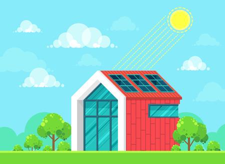 solar home: Flat style design vector illustration of landscape on ecology theme. Solar energy idea concept Illustration