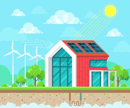 Flat style design vector illustration of landscape on ecology theme. Solar, geothermal and wind energy idea concept Vektorové ilustrace