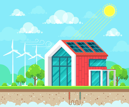 Illustration vectorielle de style plat design de paysage sur le thème de l'écologie. Concept d'idée d'énergie solaire, géothermique et éolienne Vecteurs
