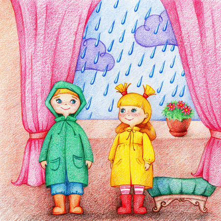 hands drawn picture of two adorable children in raincoat and rubber knee boots stand in a room near window. Its raining outside. Illustration by the color pencils Stok Fotoğraf