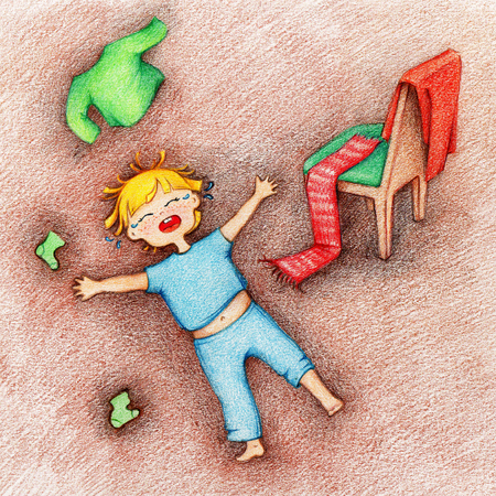 hands drawn picture of crying, screaming and stressed child lying on the floor and sparse clothing by the color pencils Imagens