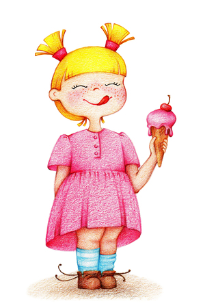 Hands drawn picture of little girl in pink dress eating cherry ice cream by the color pencils Stock Photo