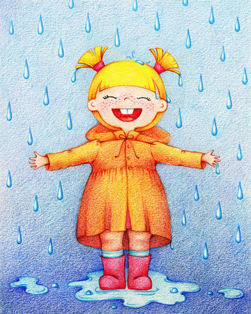 Hands drawn picture of a little happy girl in yellow raincoat and red rubber knee boots in rainy day by the color pencils