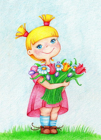 gladness: Beautiful girl in pink dress with bouquet of flowers by the color pencils