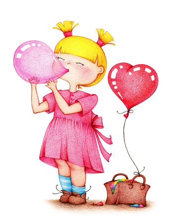 Hands drawn picture of little girl in pink dress blowing balloon by the color pencils on white background
