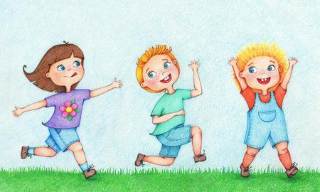 hand getekende illustratie van drie kinderen lopen en jagen na elkaar in de zomer door de kleur potloden
