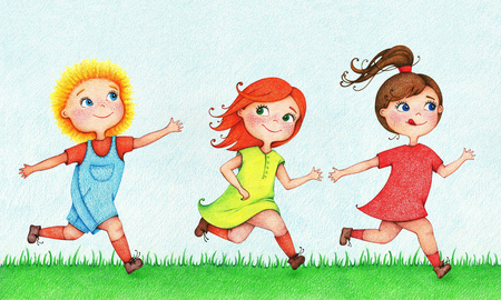 Hand drawn illustration of three kids running and chasing after each other in summer by the color pencils Stok Fotoğraf