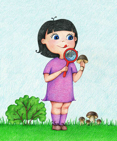 Hand drawn illustration of a girl in a violet dress mushroom and examines him through a lens on the forest glade in the summer by the color pencils Imagens