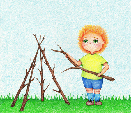 Hand drawn illustration of little boy building house from branches in a garden in summer by the color pencils