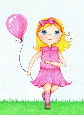 Hand drawn picture of young smiling girl in pink dress running with balloon in summer by the color pencils