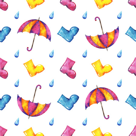 Hands drawn watercolor autumn seamless pattern with umbrella, raindrop and rubber kneeboots on white background for your design Stock Photo