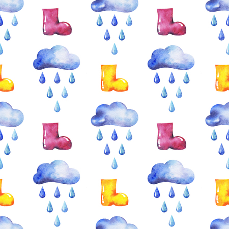 hands drawn watercolor autumn seamless pattern with clouds, raindrops and rubber knee-boots on white background for your design Stock Photo - 86233482