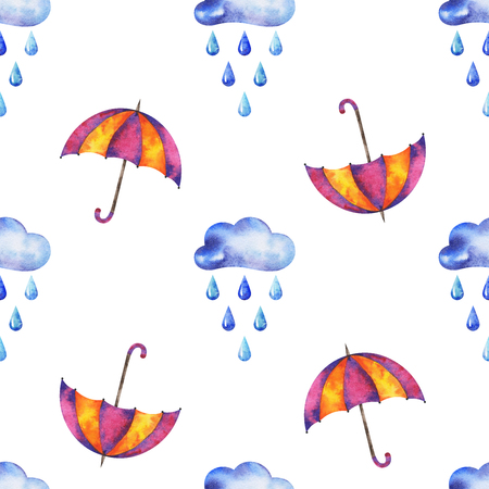 hands drawn watercolor autumn seamless pattern with clouds, raindrops and umbrella on white background for your design