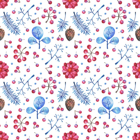 watercolor seamless pattern with floral elements on white background. Hand painted branches, flowers, plants and berries. Can be used in winter holidays design, posters, invitations, cards 版權商用圖片