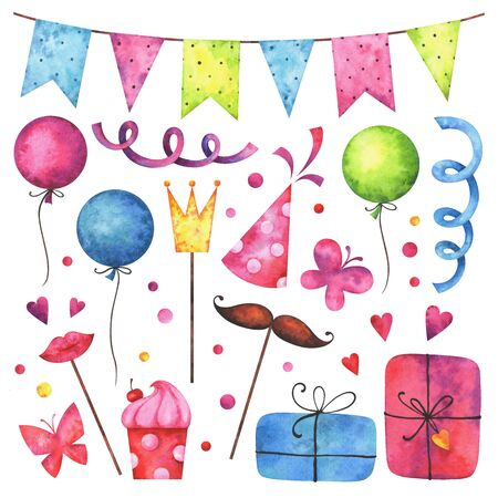 Watercolor Happy birthday clip art set. Hand painted hearts, gift boxes, festive garlands, air balloons, cake, butterflies, hat cone, confetti, props isolated on white background. Stock Photo