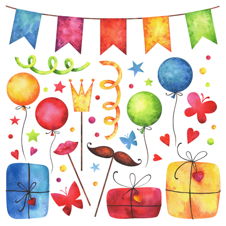 Watercolor Happy birthday party clip art set. Hand painted hearts, gift boxes, festive garlands, air balloons, cake, butterflies, hat cone, confetti, props, stars isolated on white background.